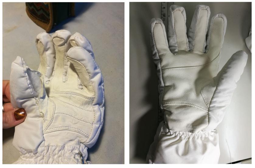 Замена кожаных элементов на перчатках